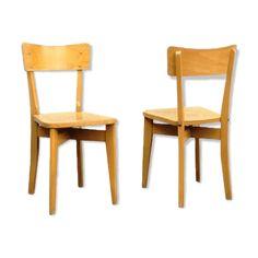2 jolies chaises bistrot vintage de couleur miel doré. Structure solide et stable. Traces d usage pour une authentique patine. - bois (Matériau) - bois (Couleur) - bon état - vintage
