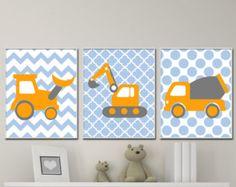 Baby Boy Nursery Art. Car Nursery Art Prints. Suits Blue