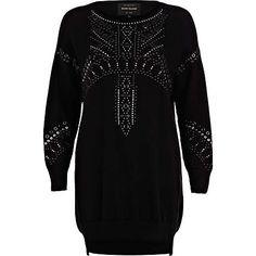 Black heat seal sweater dress - knitted dresses - knitwear - women