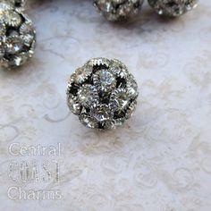 17mm Czech Glass Rhinestone Beads - 2 pcs - Antique Vintage Style - Dark Silver Gunmetal Patina - Disco Ball - Central Coast Charms