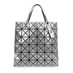 Bao Bao Issey Miyake Lucent Basic tote (610 CAD) ❤ liked on Polyvore featuring bags, handbags, tote bags, silver, mesh purse, metallic handbags, grey handbags, grey tote bag and handbags totes