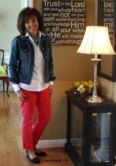 Denim jacket, colored jeans....❤️ http://cyndispivey.com