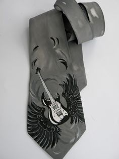Gift for MEN'S Hand painted men necktie Guitar and wings for musician - Free Shipping. $60.00, via Etsy.