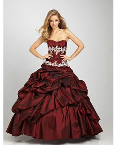 BallGown Strapless Taffeta Floor-length Burgundy Quinceanera Dress at sweetquinceaneradress.com