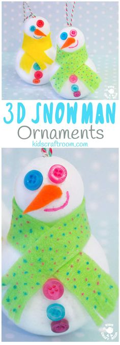 Cute Snowman Ornaments - Easy Snowman Craft For Kids - Great For Hanging On The Christmas Tree Or For Small World Play. Children Will Love How Quick It Is To Make A Snowman Friend. Via Kidscraftroom Creative Activities For Kids, Creative Arts And Crafts, Quick Crafts, Craft Activities, Preschool Crafts, Fun Crafts, Preschool Winter, Kindergarten Activities, Crafts For Kids To Make