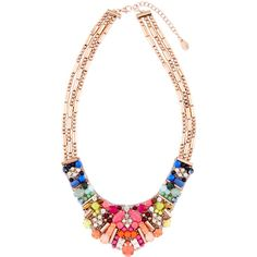 Accessorize Beth Ombre Beaded Statement Necklace ($49) ❤ liked on Polyvore featuring jewelry, necklaces, rainbow necklace, druzy jewelry, beaded bib necklace, statement necklaces and beading jewelry