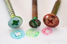10 ideias criativas de pintura com carimbo - parafusos e roscas