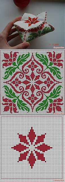 Cross-stitch Biscornu ... no color chart available, just use pattern chart as your color guide.. or choose your own colors... PAGODE BISCORNU