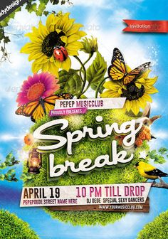 Spring Break Party Flyer  Party Flyer Templates For Clubs