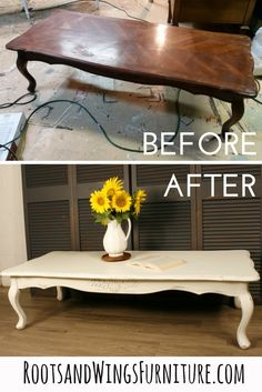 Before and After on a coffee table using General Finishes Milk Paint.  Refinished by Jenni of Roots and Wings Furniture.