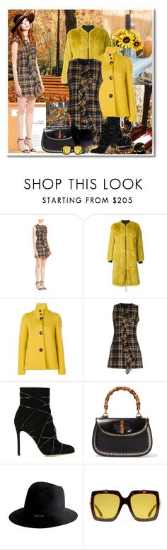 """""""Pretty in Plaid"""" by sjk921 ❤ liked on Polyvore featuring MSGM, Yves Salomon, RRD, Gianvito Rossi, Gucci and Janessa Leone"""