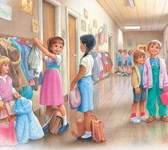 French Primary School: children arriving at school and hanging their coats on pegs outside their classrooms Marcel, Illustration Photo, Family Illustration, Photo Images, Chica Anime Manga, Vintage Labels, Vintage Children, Belle Photo, Retro