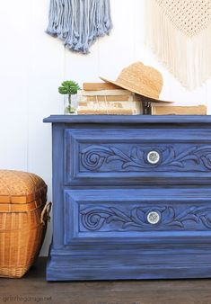 Create a statement piece with a bold blue Chalk Painted nightstand. DIY painted furniture ideas by Girl in the Garage Blue Nightstands, Dressers, Furniture Inspiration, Furniture Ideas, Painted Furniture, Redoing Furniture, Refinished Furniture, Annie Sloan Chalk Paint Projects, Diy Furniture Tutorials