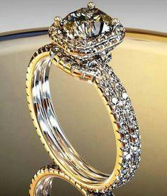 Emmy DE * A Diamond Halo Engagement Ring Setting with Matching Diamond Band Wedding Jewelry, Jewelry Box, Jewelry Accessories, Fine Jewelry, Wedding Rings, Jewelry 2014, Wedding Band, Jewelry Rings, Unique Jewelry