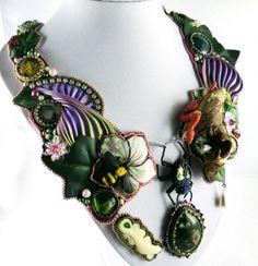 pearlfactory.de - Collier, Collier chain, Shibori, bead embroidery, the Garden of Eden