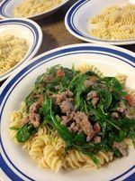 Spicy Sausage & Arugula Pasta: Part of the Progressively Perfect Dinner Party blog hop - Whatever Works