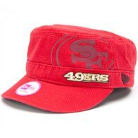 Ladies San Francisco 49ers Military Style Hat. The New Era Ladies Goal-To-Go Military Adjustable Hat features a large printed 49ers logo with an embroidered team name offset on the front and a team logo tag on the back strap. Rep your Niners in style!