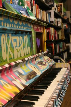 We love this piano in the Oxfam bookshop in Angel!