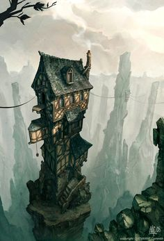 Here is a nice illustration by Chevanne Corentin. - Here is a nice illustration by Chevanne Corentin. Fantasy City, 3d Fantasy, Fantasy Places, Fantasy Setting, Fantasy Landscape, Fantasy Artwork, Fantasy World, Fantasy Concept Art, Fantasy House
