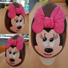 Uovo di pasqua minnie Chocolate Sculptures, 2d, Minnie Mouse, Eggs, Easter, Sweets, Cakes, Disney Characters, Easter Eggs