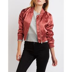 Charlotte Russe Satin Cropped Bomber Jacket ($37) ❤ liked on Polyvore featuring outerwear, jackets, marsala, zipper jacket, flight jacket, red jacket, zip front jacket and red satin jacket
