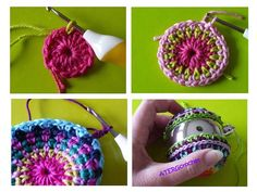 Colorful Christmas ball crochet pattern by by ATERGcrochet on Etsy