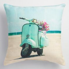 One of my favorite discoveries at WorldMarket.com: Aqua Scooter Indoor Outdoor Throw Pillow