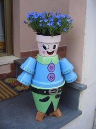 stacking flower pot crafts   How Cute. Cant stop smiling!
