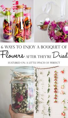 6 Ways to Enjoy a Bouquet of Flowers After They're Dried: Easy DIY ideas to preserve flowers after they have been enjoyed in a vase (No flower pressing needed)