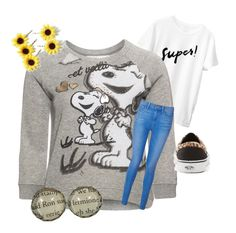 """""""Snoopy sweatshirt"""" by ilahyas ❤ liked on Polyvore featuring Passport, Paige Denim, Vans and Topshop"""
