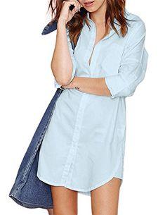 9e82fac751 Women Solid Long Sleeve Boyfriend Pocket Button Blouse Dress Casual Frocks