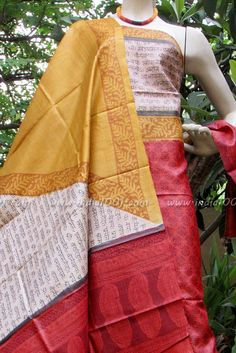 Elegant Block Printed Tussar Silk Dupatta & Kurta   India1001.com