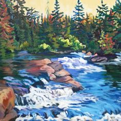 """""""The Falls"""" Algonquin Provincial Park. by Anna Clarey. Landscape Paintings, Watercolor Paintings, Landscapes, O Canada, Painting Techniques, Painting Inspiration, Pure Products, Park, Acrylics"""