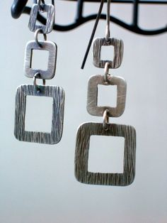 Sterling Silver Earrings - All Stacked Up - Geometric Earrings. $45.00, via Etsy.
