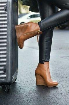 Leather pants & brown wedge booties.