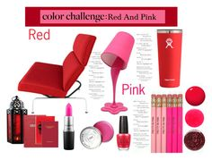 """""""Red Pink composition"""" by alinefer ❤ liked on Polyvore featuring interior, interiors, interior design, home, home decor, interior decorating, Herman Miller, LumiSource, Hydro Flask and Sloane Stationery"""