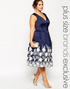 Image 1 ofChi Chi London Plus Plunge Neck Midi Dress with Embroidered Hem