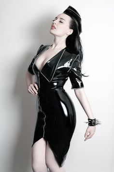 Latex Rubber Army style Zip detail top by Kaorimg on Etsy, $185.00
