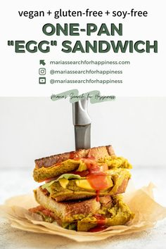 "This One-Pan ""Egg"" Sandwich recipe is vegan, gluten-free, soy-free, and made with just 10 ingredients. #veganbreakfastrecipes #plantbasedbreakfast #plantbasedbreakfastrecipes #veganbreakfast #glutenfreebreakfast #glutenfree #glutenfreerecipes #vegan #soyfree #soyfreerecipes #glutenfreevegan #dairyfree #dairyfreerecipes #dairyfreebreakfastrecipes #vegetarian #vegetarianrecipes #vegetarianbreakfast #vegetarianbreakfastrecipes #soyfreevegan #veganeggrecipe #veganbreakfastsandwich… Dairy Free Recipes, Vegan Gluten Free, My Recipes, Whole Food Recipes, Vegan Sandwich Recipes, Vegetarian Breakfast Recipes, Vegan Wraps, Plant Based Breakfast, Sandwiches For Lunch"