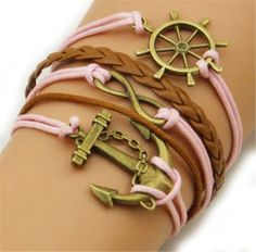 Fashion Lady Retro Anchor,infinity,rudder Bracelet in Gold Color - Pink and Brown Wax Cords and Leather Braid Strands Bracelet Suede Rope Bracelet Gift Whatland,http://www.amazon.com/dp/B00J0UPMDQ/ref=cm_sw_r_pi_dp_ZqcEtb0EZADJSMB7