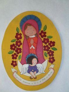 Virgen pirograbado y pintada a mano, hand painted