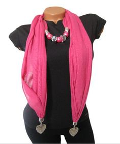 Pink pendant scarf Scarf necklace Scarf jewelry by VanityShine
