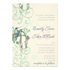 Whimsical Humming Birds Wedding Invitation   Click on photo to purchase. Check out all current coupon offers and save! http://www.zazzle.com/coupons?rf=238785193994622463&tc=pin