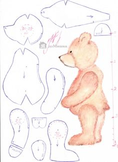 Teddy Bear Sewing Pattern PDF with Instructions for 8 Teddy Bear Template, Teddy Bear Patterns Free, Teddy Bear Sewing Pattern, Plush Pattern, Sewing Stuffed Animals, Stuffed Animal Patterns, Animal Sewing Patterns, Doll Patterns, Vintage Teddy Bears