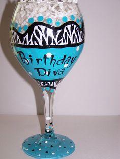 Hand Painted Wine Glass Tiffany Blue Zebra by ArtworkByKimTyson, $17.75