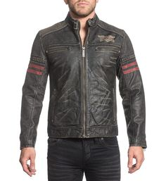 "DETAILS    • Affliction Mens Leather Jacket    • Contrast Red Stripes and Self Perforated Details    • Laser Etching    • Black Wash CONTENT AND CARE    • 100% Buffalo Leather    • Machine Wash Cold    • Imported MODEL    • Height = 5'11""    • Chest = 41""    • Waist = 32""    • Wearing size medium"