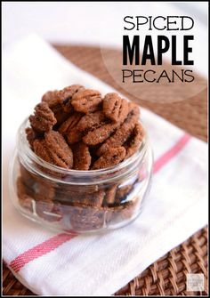 """Spiced Maple Pecans Recipe: Remember the kiosks at the mall that sold flavored nuts? This Spiced Maple Pecans Recipe is reminiscent of those nuts, but with a kick of """"heat"""" at the end. Recipes Appetizers And Snacks, Köstliche Desserts, Healthy Dessert Recipes, Yummy Appetizers, Easy Snacks, Delicious Desserts, Snack Recipes, Yummy Food, Pasta Recipes"""