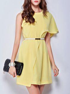 Shop Mini Dresses - Yellow Plain Resort Mini Dress online. Discover unique designers fashion at StyleWe.com.