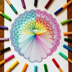 "654 Likes, 30 Comments - Mandalas, Zentangles, Doodles (@lady_meli_art) on Instagram: ""Just another rainbow mandala .. Hope you like it! . . Pens 88 from @stabilo"""