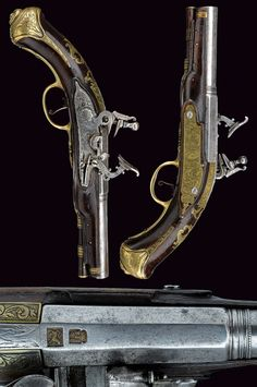 A pair of snaphaunce flintlock pistols by Bastiano Giusti.    provenance:	 	North Italy dating:	 	 second quarter of the 18th Century